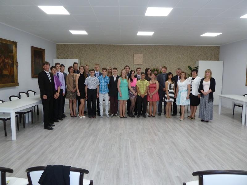 Přijetí žáků deváté třídy ZŠ Žarošice u starosty