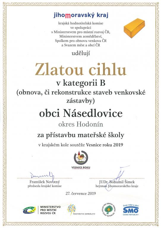Převzetí ocenění z Vesnice roku 2019 v Morkůvkách